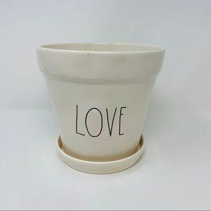 Rae Dunn 'LOVE' Planter/Flower Pot and Sau…